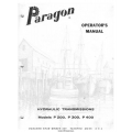 Paragon P200, P300, P400 Hydraulic Transmissions Operator's Manual $4.95