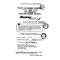 Mooney M20J Pilot's Operating Handbook and Flight Manual   $ 13.95