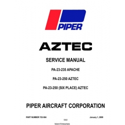 Piper Aztec/ Apache PA-23-235 -250 and 250 Six Place Service Manual 2009 $19.95 Part # 753-564