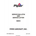 Piper Service Bulletin and Service Letter Index 2011 $5.95 Part No. 762-332