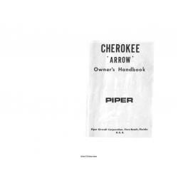 Piper Cherokee Arrow Owner's Handbook 1968 $6.95
