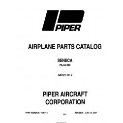 PIPER AIRPLANE PARTS CATALOG SENECA PA-34-200 Part # 753-816