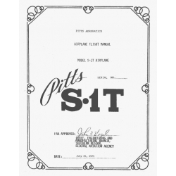 Pitts S.1T Flight Manua/POHl $2.95