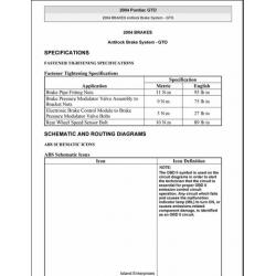 Pontiac GTO Antilock Brake System Service and Repair Manual 2004 $9.95
