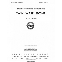 Pratt & Whitney DC-3 Engine Twin Wasp S1C3-G Specific Operating Instructions 1946 - 1956 $9.95