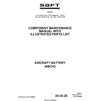 saft 409ch2 aircraft battery component maintenance manual with rh aero stuff com Blank Aircraft Maintenance Logbook Aircraft Maintenance Engineer
