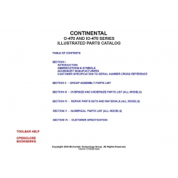 Continental O-470 AND IO-470 Series Illustrated Parts Catalog X-30023A $13.95