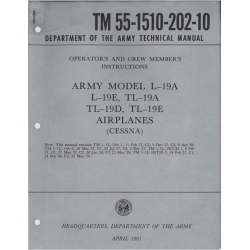 Cessna Technical Manual L-19A, L-19E ,TL-19A TL-19D, TL-19E Operators and Crew Members Instructions