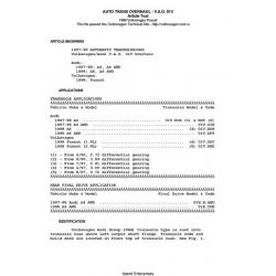 Volkswagen Passat Automatic Transmissions Overhaul - V.A.G 01V 1997 - 1998 $4.95