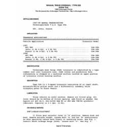 Volkswagen Passat Manual Transmissions Overhaul -Type 02A 1997 - 1998 $4.95