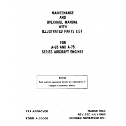 Continental A-65 & A-75 Maintenance & Overhaul Manual with Illustrated Parts List $13.95