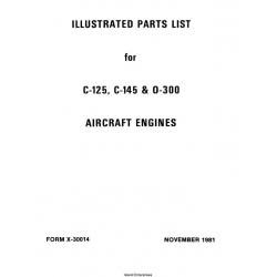 Continental Parts Catalog X-30014 C-125, C-145 & O-300 $13.95