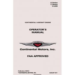 Continental A Series C Series 0-200  Operators Manual X30012  $19.9500