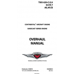 Continental TSIO-520-C,G,H & M,P,R,T,AE,AF,CE Sandcast Series Engine Overhaul Manual X30575 $19.95