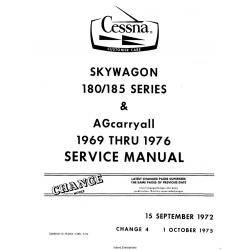 Cessna Skywagon 180 & 185 Series 1969 thru 1976 Service Manual $19.95