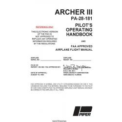 Piper Archer III PA-28-181 Pilot's Operating Handbook rev 2015 $19.95
