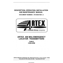 Artex 406 MHz C406-2, C406-2HM Emergency Local Transmitters Description, Operation, Installation and Maintenance Manual $13.95