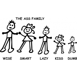 "Ass Family Decal/Sticker 10.8"" wide by 6"" high! $9.95"
