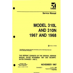 Cessna Model 310L AND 310N 1967 AND 1968 Service Manual D526-2-13 $29.95