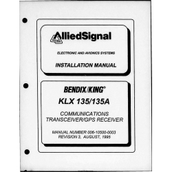 Bendix King KLX-135-135A KLX 135 KLX 135A Communication Transceiver/GPS Receiver Maintenance Manual 006-10500-0003 $29.95
