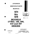 Cessna Models 177 RG, 182, 206, 210 and 337 series (1974 thru 1976) Avionics Service/Parts Manual D4548-2-13 $29.95
