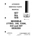 Cessna Models 177RG, 182, U206, 210, 337 Series (1977 thru 1978) Avionics Service/Parts Manual D4580-2-13 $29.95