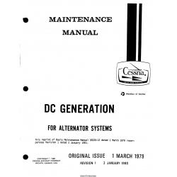 Cessna DC Generation For Alternator System Maintenance Manual D5230-12 $13.95