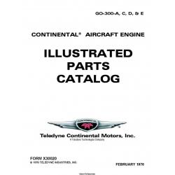 Continental GO-300-A, C, D, & E Series Aircraft Engines Illustrated Parts Catalog 1976 X30020