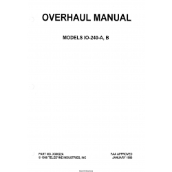 Continental Model IO-240-A, B Overhaul Manual X30622A