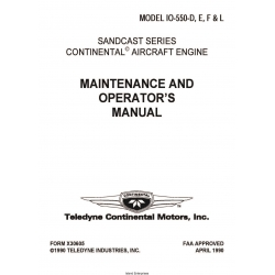 Continental Model IO-550-D-E-F & L Sandcast Series Maintenance and Operator's Manual X30605 $29.95