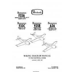 Beechcraft Bonanza F33A-F33C-V35B-A36 14 Volt Electrical System Wiring Diagram Manual 35-590102-7B1 $13.95