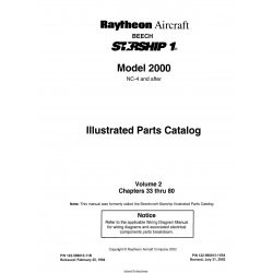 Beech Starship 1 Model 2000 NC-4 and After Illustrated Parts Catalog Volume 2 Chapters 33 thru 80 122-590013-11B4 $29.95