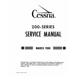 Cessna 200 Series 1966 thru 1968 Service Manual 1968 $19.95