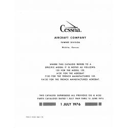 Cessna 150, A150, F150, FA150 1970-1977 Parts Catalog 1976 $19.95