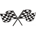 "Checkered Flag Decal/Vinyl Sticker 8"" wide by 3.7"" high!"