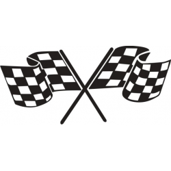 """Checkered Flag Decal/Vinyl Sticker 8"""" wide by 3.7"""" high!"""