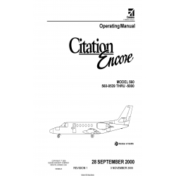 Cessna Citation Encore 560 Operating Manual (560-0539 thru-5000) 560MB-01 $19.95