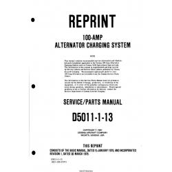 Cessna Model 100-AMP Alternator Charging System Service/Parts Manual D5011-1-13