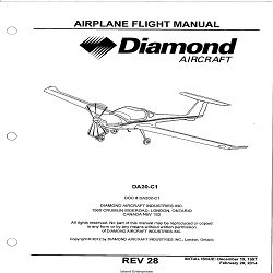 Diamond DA20-C1 Airplane Flight Manual/POH $13.95
