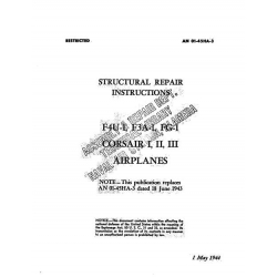 Vought Structural Repair Instruction for F4U-1, F3A-1, FG-1CORSAIR I, II, III 1944 $29.95