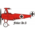 "Red Baron Fokker DR.1 Tri Plane Decal/Vinyl Sticker 6"" wide by 3.5"" high!"