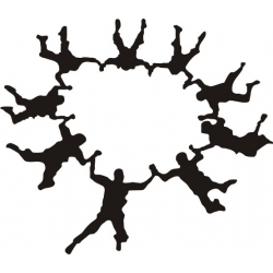 """Group Skydiver Decal Vinyl Sticker 10"""" wide by 8.6"""" high!"""