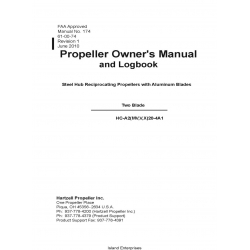 Hartzell HC-A2(MV,V,X)20-4A1 Two Blade Propeller Owner's Manual and Logbook 61-00-74