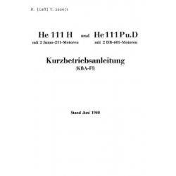Heinkel He 111 H und He 111 Pu.D Kurzbetriebsanleitung $9.95