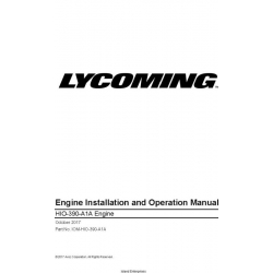 Lycoming HIO-390-AIA Engine Installation and Operation Manual IOM-HIO-390-A1A $29.95