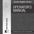 Jacob Engine Brake Operator's Manual $4.95