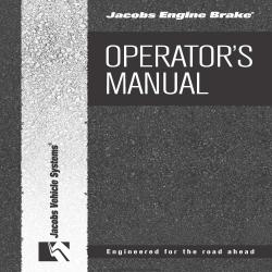 Jacob Engine Brake Operator's Manual $4.95