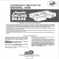 Jacob Engine Brake Model 430 Installation Manual