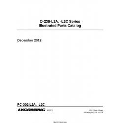 Lycoming O-235-L2A-L2C Series Illustrated Parts Catalog PC-302-L2A,-L2C $19.95