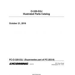 Lycoming O-320-D2J Illustrated Parts Catalog PC-O-320-D2J  $19.95